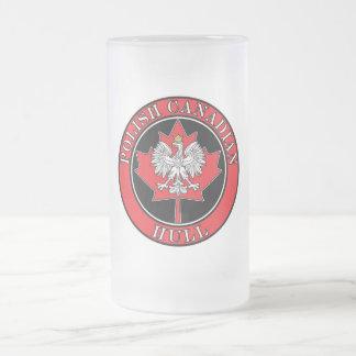 Hoja canadiense redonda polaca del casco taza de cristal