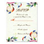 Hoja colorida de la voluta en el ecru que casa la invitaciones personalizada