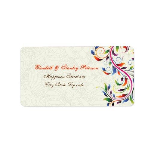 Hoja colorida de la voluta en etiqueta del boda de etiquetas de dirección