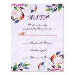 Hoja colorida de la voluta en la tarjeta púrpura invitación personalizada