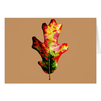 Hoja colorida del roble del otoño tarjeta de felicitación