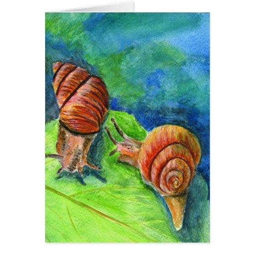 Hoja con dos caracoles - acuarela tarjeta