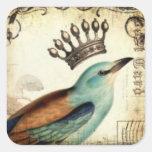 Hoja coronada del pegatina del pájaro