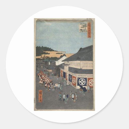 Hoja de Ando Hiroshige una calle en el Shitaya Pegatinas Redondas