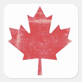 Hoja de arce apenada Canadá Calcomanías Cuadradas Personalizadas