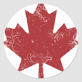 Hoja de arce canadiense (apenada) pegatina redonda