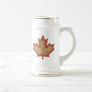 Hoja de arce canadiense cosida Applique modelada 4 Jarra De Cerveza