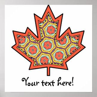 Hoja de arce canadiense cosida Applique modelada 4 Poster