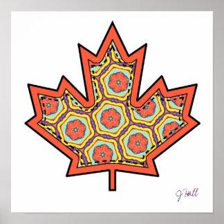 Hoja de arce canadiense cosida Applique modelada 4 Posters