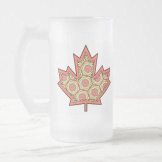 Hoja de arce canadiense cosida Applique modelada 4 Taza De Cristal