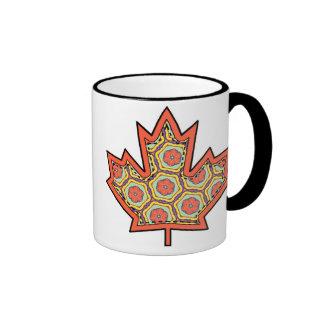 Hoja de arce canadiense cosida Applique modelada 4 Taza De Dos Colores