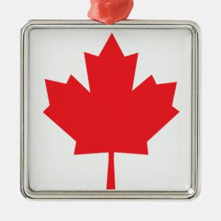 Hoja de arce canadiense de la bandera de Canadá Adorno Cuadrado Plateado