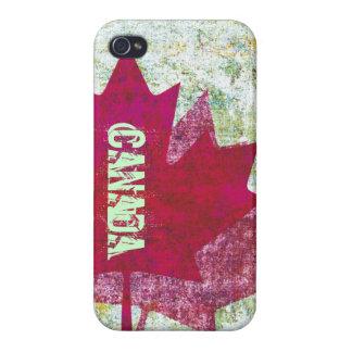 Hoja de arce canadiense de la bandera del Grunge iPhone 4/4S Carcasas