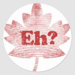 Hoja de arce canadiense del orgullo etiqueta redonda