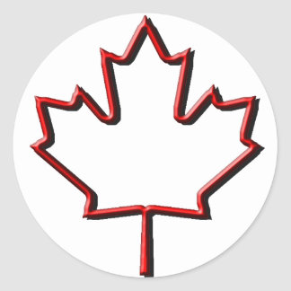 Hoja de arce canadiense grabada en relieve etiqueta redonda