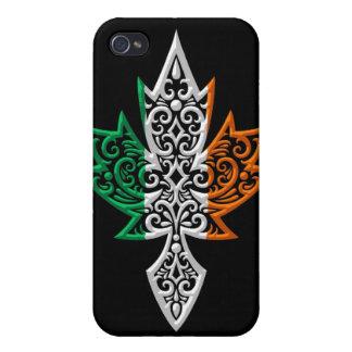 Hoja de arce canadiense irlandesa - negro iPhone 4 protector