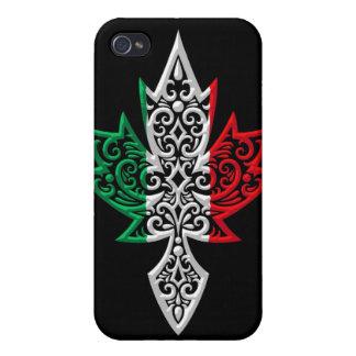Hoja de arce canadiense italiana - negro iPhone 4 cárcasas