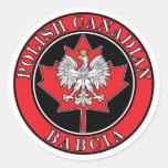 Hoja de arce canadiense polaca Babcia Etiqueta Redonda