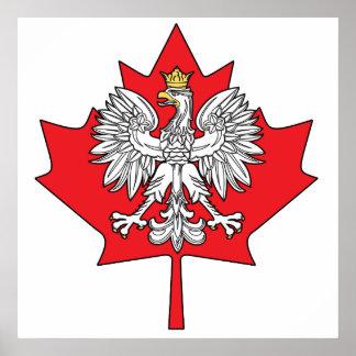 Hoja de arce canadiense polaca impresiones