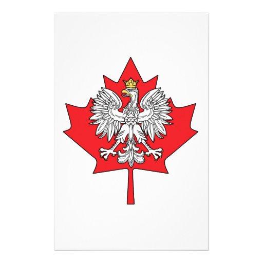 Hoja de arce canadiense polaca papeleria personalizada
