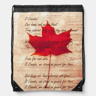 Hoja de arce canadiense roja con himno