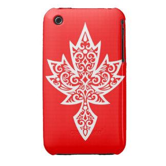 Hoja de arce canadiense roja y blanca compleja iPhone 3 Case-Mate protectores
