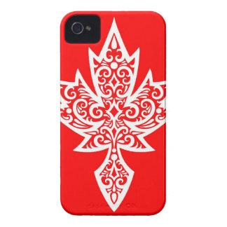 Hoja de arce canadiense roja y blanca compleja Case-Mate iPhone 4 carcasas