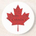 Hoja de arce canadiense w/Text Posavasos Diseño