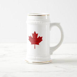 Hoja de arce canadiense w Text Tazas De Café