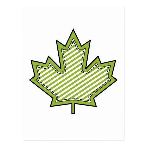 Hoja de arce cosida Applique rayada verde lima Tarjeta Postal