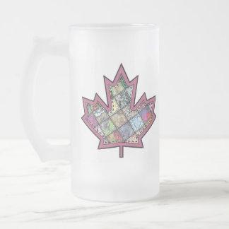 Hoja de arce cosida remiendo 5 taza de cristal