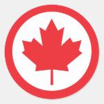 Hoja de arce de Canadá Etiqueta Redonda