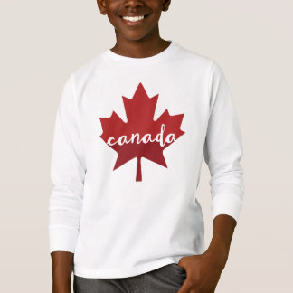 Hoja de arce de Canadá - letras de la mano Remeras