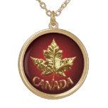 Hoja de arce del oro de Canadá del collar del recu