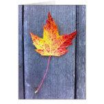 Hoja de arce del otoño tarjetón