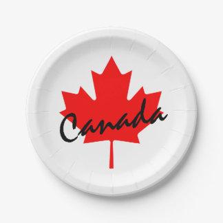Hoja de arce del rojo de Canadá Plato De Papel De 7 Pulgadas