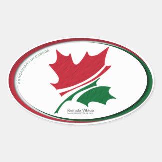 Hoja de arce en el logotipo tricolor húngaro de pegatina ovalada