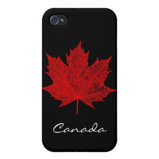 Hoja de arce/Negro-Canadá rojos iPhone 4 Cárcasas