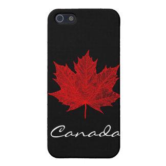 Hoja de arce/Negro-Canadá rojos iPhone 5 Funda