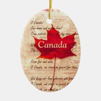 Hoja de arce roja - Canadá Adorno Ovalado De Cerámica