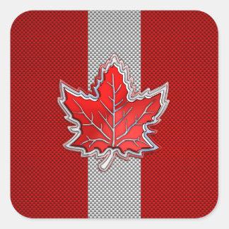 Hoja de arce roja canadiense en estilo de la fibra pegatina cuadrada