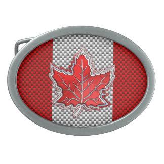 Hoja de arce roja canadiense en la impresión de la hebillas cinturon ovales