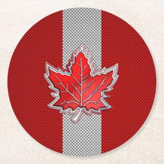 Hoja de arce roja canadiense en la impresión de la posavasos personalizable redondo