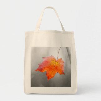 Hoja de arce roja - otoño del terciopelo bolsa tela para la compra