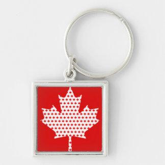 Hoja de arce roja y blanca canadiense orgullosa llavero cuadrado plateado