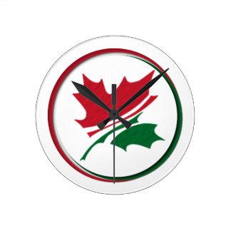Hoja de arce Rojo-Verde (logotipo de Kanada Reloj Redondo Mediano