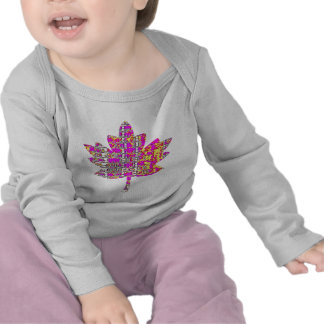 Hoja de arce rosada floral - canadiense orgulloso camiseta