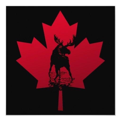 Hoja de arce y alces canadienses invitación 13,3 cm x 13,3cm