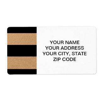 Hoja de bronce de las rayas negras elegantes etiqueta de envío
