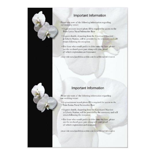 """Hoja de información blanca de las orquídeas 3 invitación 5"""" x 7"""""""